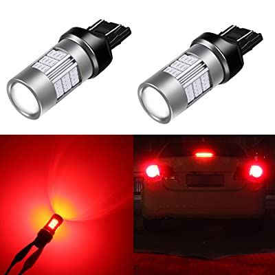 Alla Lighting T20 7440 7443 Red LED Bulbs Super Bright 4014 54-SMD LED 3057 4057 Bulb 12V 3056 3047 LED Turn Signal Brake Stop Tail Lights Bulbs for Cars, Trucks, Motorcycles (Set of 2): Automotive