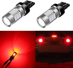 Alla Lighting T20 7440 7443 Red LED Bulbs Super Bright 4014 54-SMD LED 3057 4057 Bulb 12V 3056 3047 LED Turn Signal Brake Stop Tail Lights Bulbs for Cars, Trucks, Motorcycles (Set of 2)