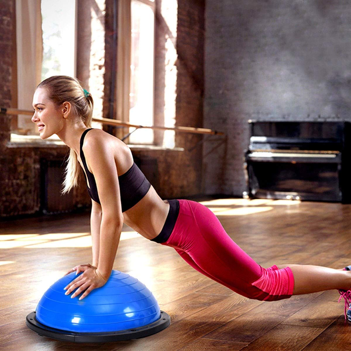 Exercise Ball, 23'' Exercise Yoga Ball Balance Trainer with Pump, Pink by MD Group (Image #3)