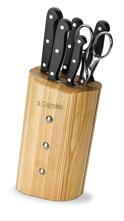 3Claveles Ash Uniblock - Juego de 5 cuchillos y tijera con bloque en madera de fresno