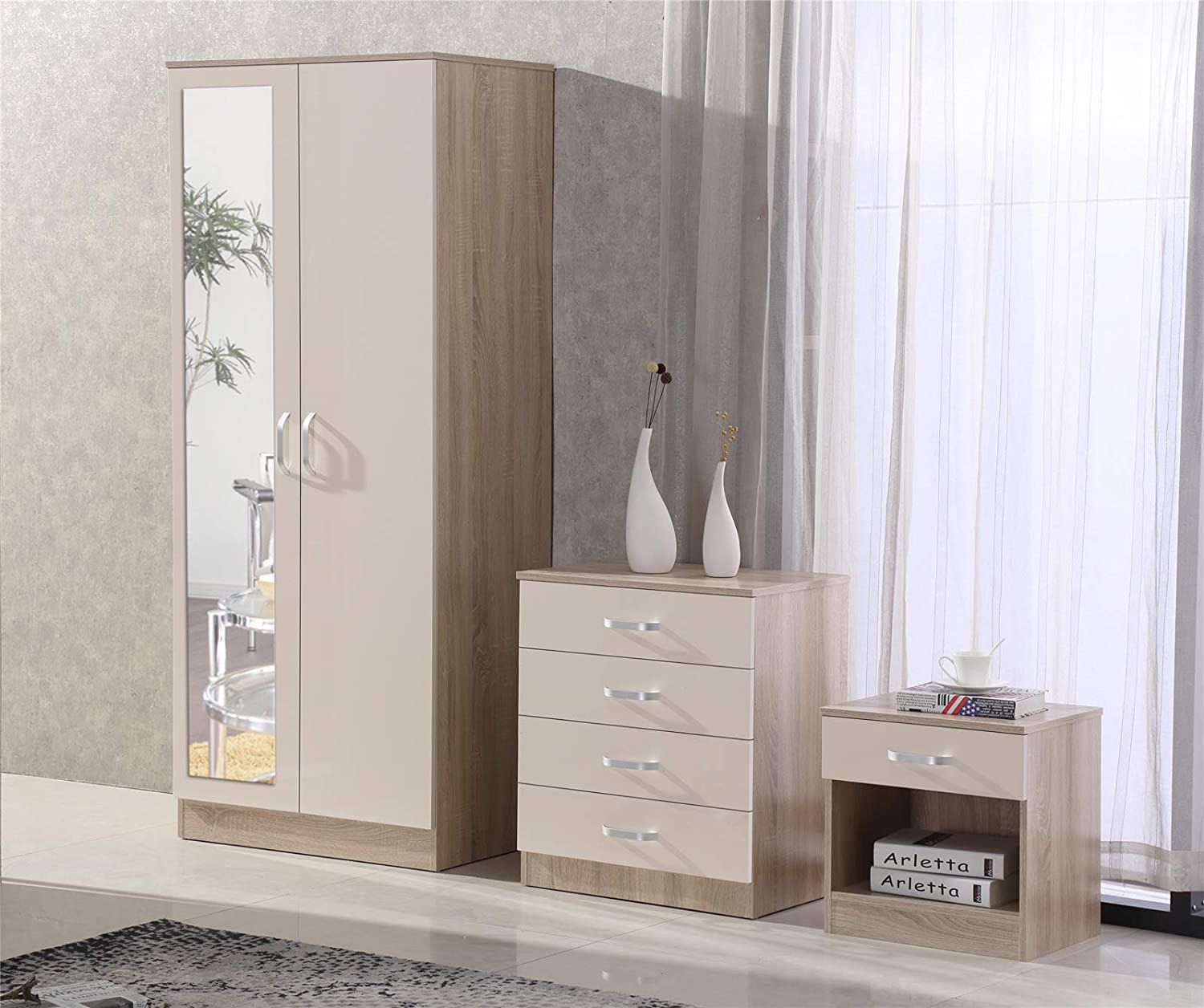 Fairpak Gladini High Gloss Mirrored 3 Piece Bedroom Furniture Set