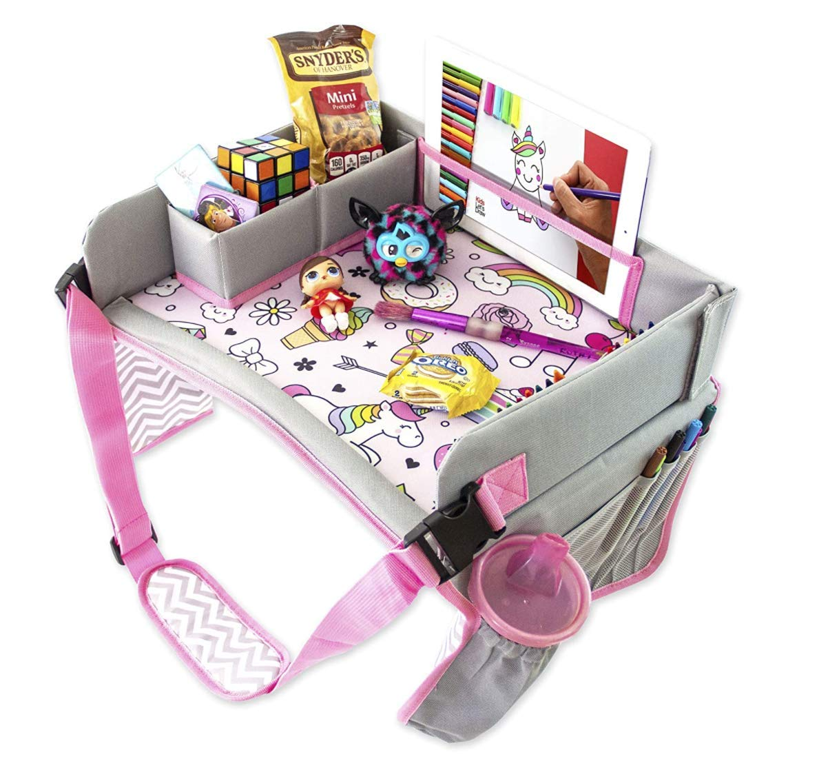 Thr33E Car Seat Kids Travel Tray - Travel Lap Desk Active Accessory for Child's - Kids Tablet iPad Holder Stand Art Storage Pockets (Pink)
