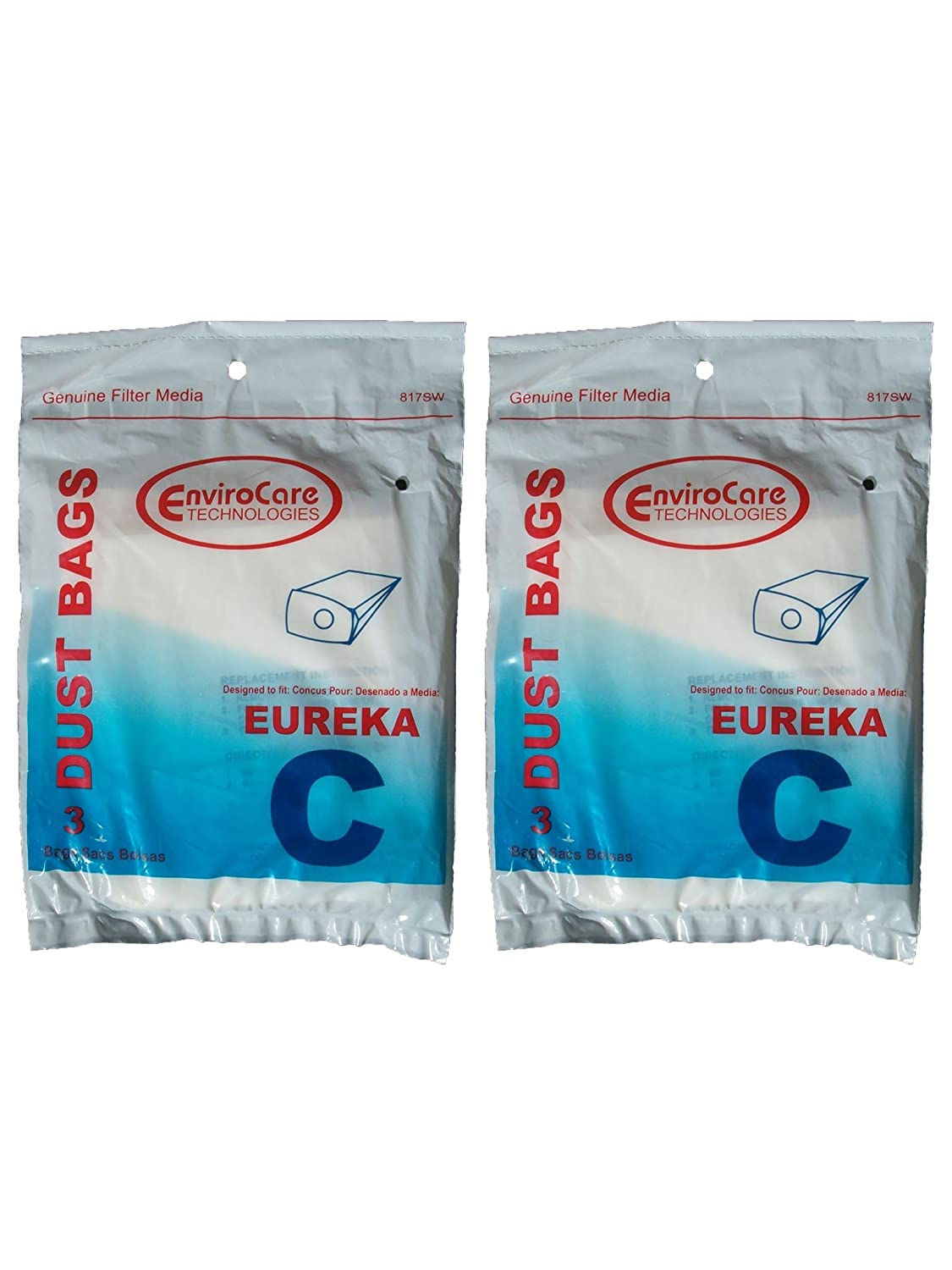 6 Eureka C Allergy Mighty Might canister Vacuum Bags, White Westinghouse, Floorshow Cleaner, Home Cleaning Systm, Commercial Vacuum Cleaners, 52318, ...