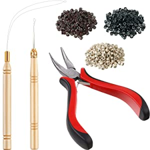 Hair Extension Kit Pliers Pulling Hook Needle Bead Device Tool Kits and 600 Pieces Silicone Lined Micro Rings (Black, Blonde and Brown Beads)