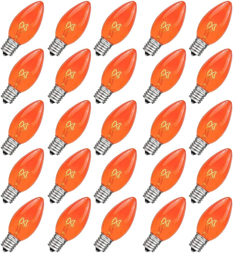 Abeja C7 Orange Christmas Replacement Bulbs 25 Pack 5 Watt Ceramic Clear Outdoor String Light Replacement Bulbs, C7/E12 Candelabra Base