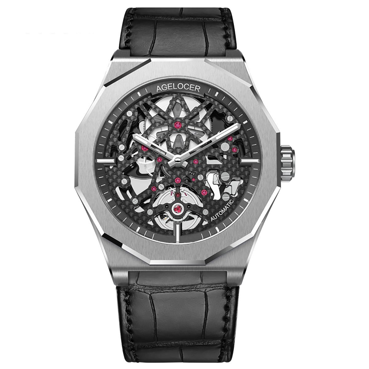 Agelocer Skeleton Diver Watch, Automatic Watch, Silver Watch, Skeleton Watches