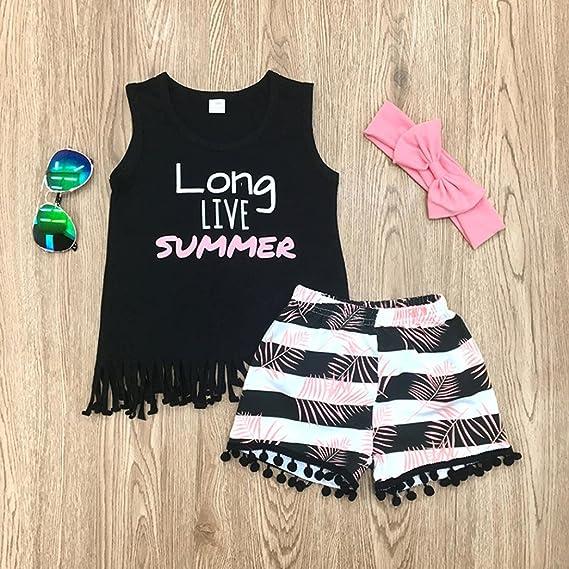 Niña Verano Vestido, Sonnena Floral impresión Camiseta de sin Manga + Rayas Hiphop Shorts para niña pequeño Casual y Moda Traje de Verano Fresco + Diadema ...