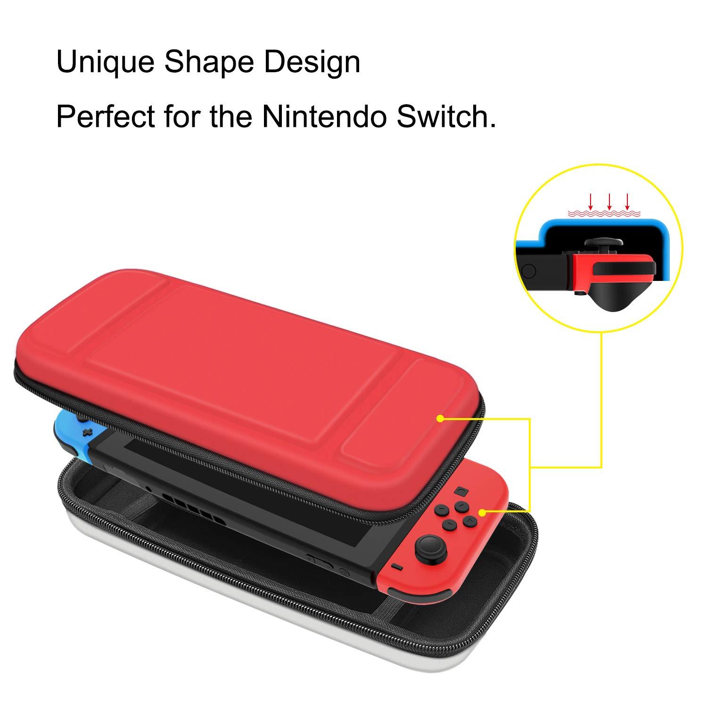 Fintie Funda Portátil para Nintendo Switch -[A Prueba de Choques] Dura Cáscara Bolsa de Transporte con 10 Ranuras y Bolsillo Interno para la ...