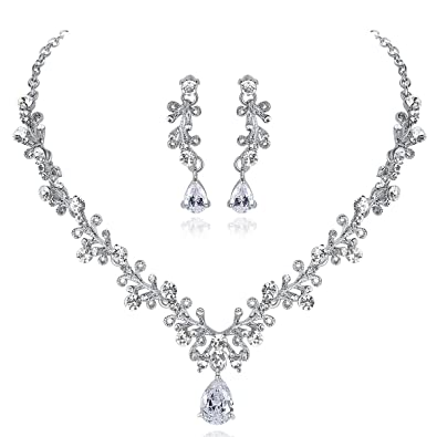 5293357f59 mecresh Bridal Austrian Crystal Necklace and Earrings Jewelry Set Gifts fit  with Wedding Dress