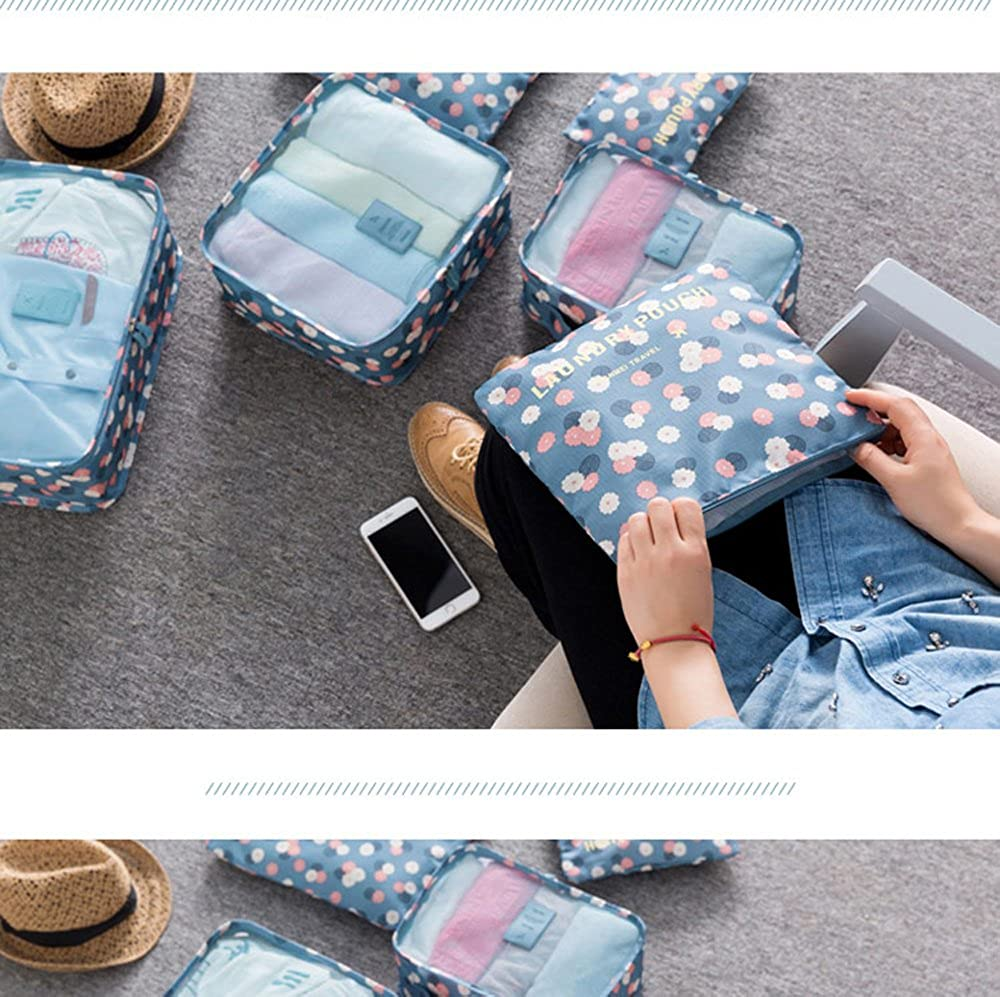 WKBY 6pcs //Set Packing Cubes Compression Travel Luggage Organizer Pouch Storage Bags