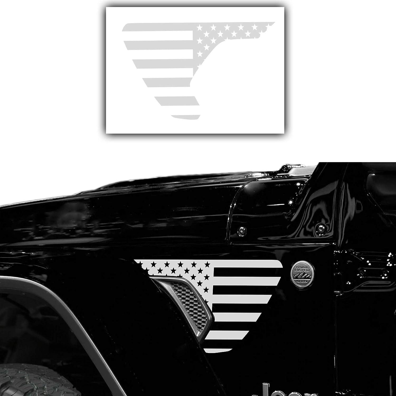 BORUIEN Precut Side Fender Vent Solid Vinyl Flag Decal Decor for Jeep Wrangler JL 2018-2021 /& for Gladiator JT 2018-2021