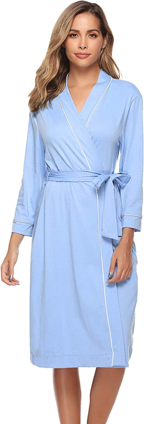 iClosam Batas Mujer Algodón Largo,Kimono Encaje con Cinturón Primavera,Ropa de Dormir Cuello en V Suave y Comodo S-XXL: Amazon.es: Hogar