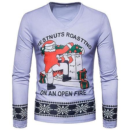 Amazon.com: Easytoy Mens Ugly Christmas Frisky Deer Santa Long Sleeve Printed T-Shirt: Sports & Outdoors