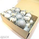 QOLCA クリスマス オーナメント ボール 4cm 24個入り(シルバー)
