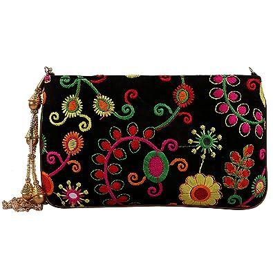 e5e4da7ef0c36 Ratash Ethnic Velvet Clutch Sling Bag with Embroidery Work Ladies ...
