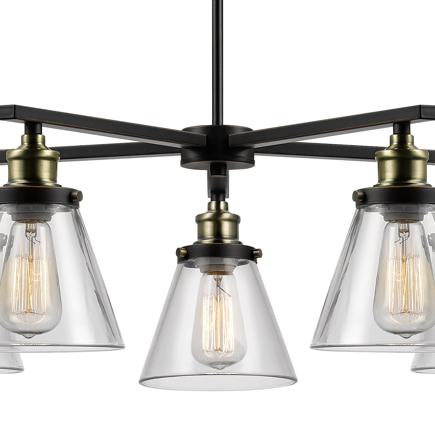 Globe Electric Shae 5 Light Vintage Edison Chandelier Oil Rubbed