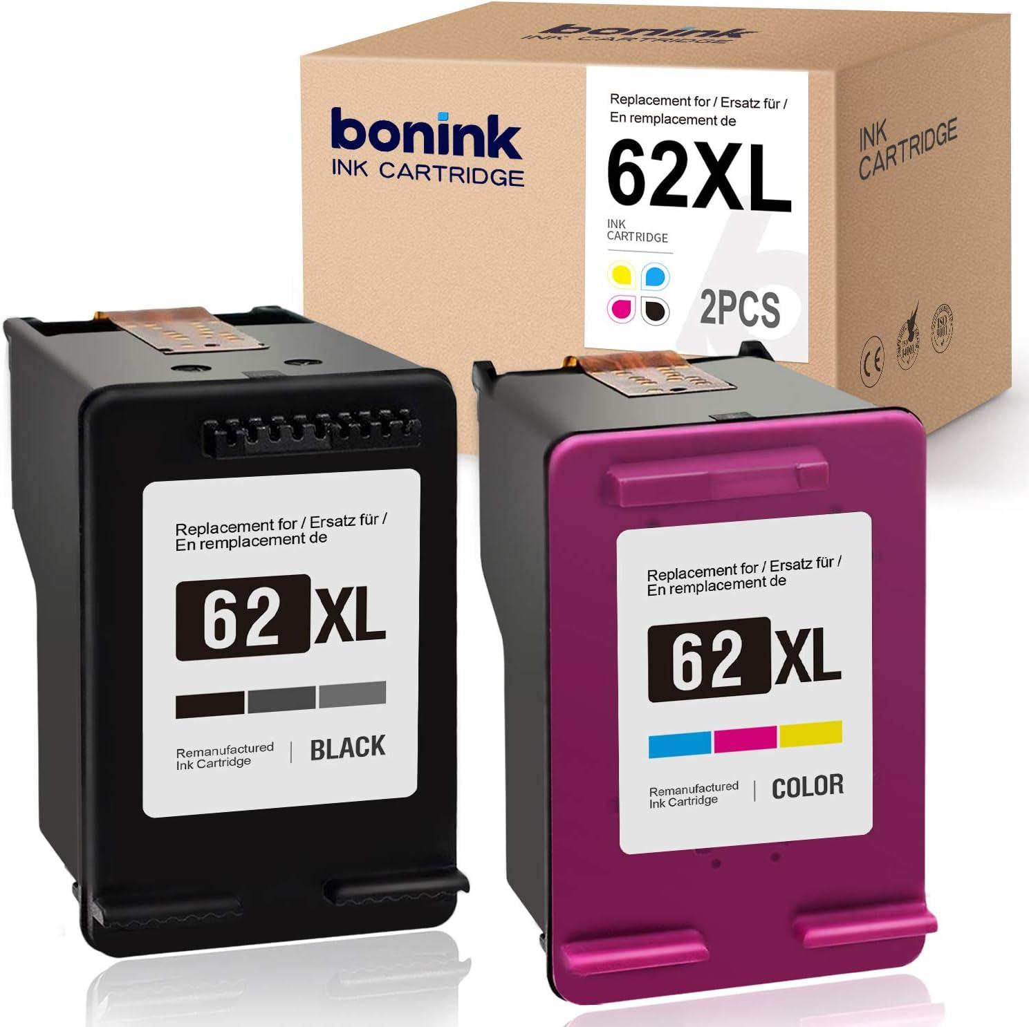 BONINK Compatible HP 62XL 62 XL Cartucho de Tinta para HP OfficeJet 250 200 5740 5742 Envy 7640 5640 5540 5548 5646 (Negro/Color): Amazon.es: Electrónica