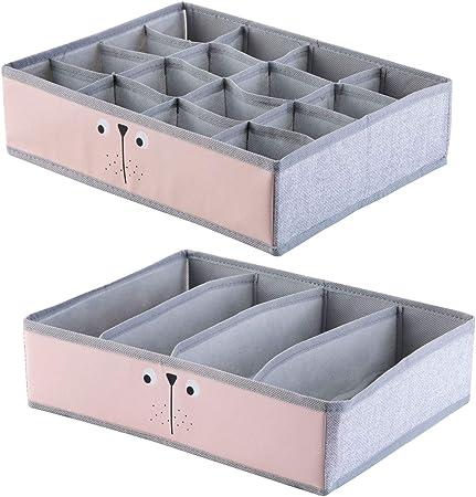 ShinePine Organizador de Ropa Interior, Cajas de Almacenamiento de Ropa Interior, para Sujetadores, Calcetines, Corbatas y Bufandas, Organizador de Tela Plegable 4 Celdas + 16 Celdas (Rosa): Amazon.es: Hogar