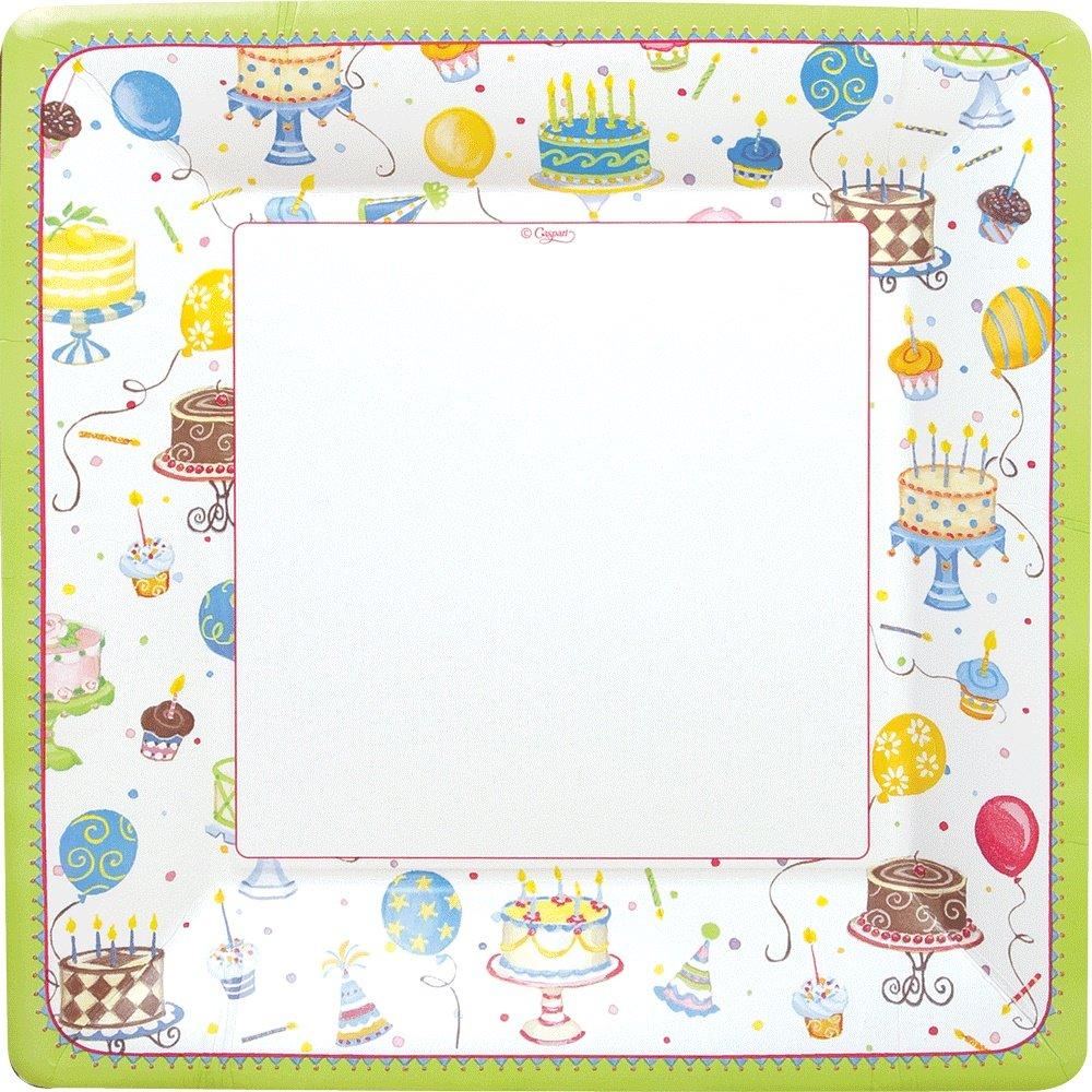 Caspari Entertaining Birthday Cakes Square Salad/Dessert Plates, Green, 8-Pack 8530SP