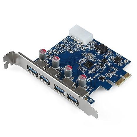 TOOGOO Tarjeta de puerto USB 4-Port USB 3.0 PCI-E PCI Express Card con 4-pin IDE supervelocidad Adaptador de tarjeta controladora Conector de ...