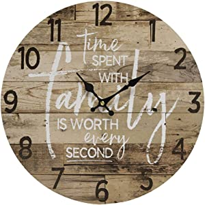 Time Spent with Family Worth Every Second - Round Wood Style Wall Clock for Home- Arabic Numerals, Farmhouse Rustic Home Decor - Wooden Round Home Decoration Wall Clock - 13 Inches Diameter