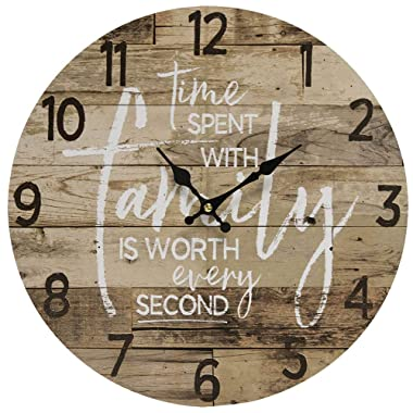 Hearthside Collection TIME Spent with Family Worth Every Second - Round Wood Style Wall Clock - Farmhouse Rustic Home Decor - 13 Inches Diameter