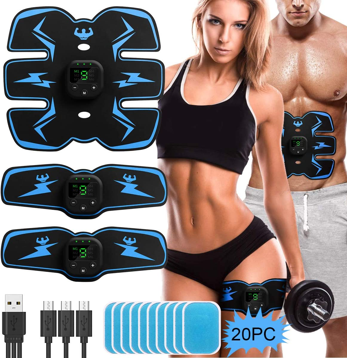 ABS Stimulator Abdominal Muscle Toner, EMS Abdomen Muscle Trainer Toning Workout Rechargeable for Men Women, Free 20pcs Gel Pads