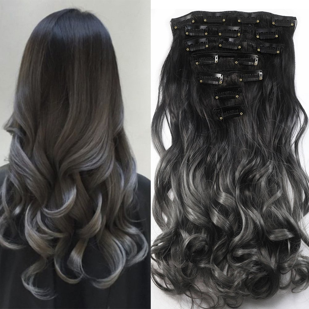 7pcs in 16 Clips Hair Extensions,Neverland Two Tone Ombre Curly Long Hairpiece Heat Resistant Hair Extensions(Black to Dark Grey) NEVERLAND Beauty & Health