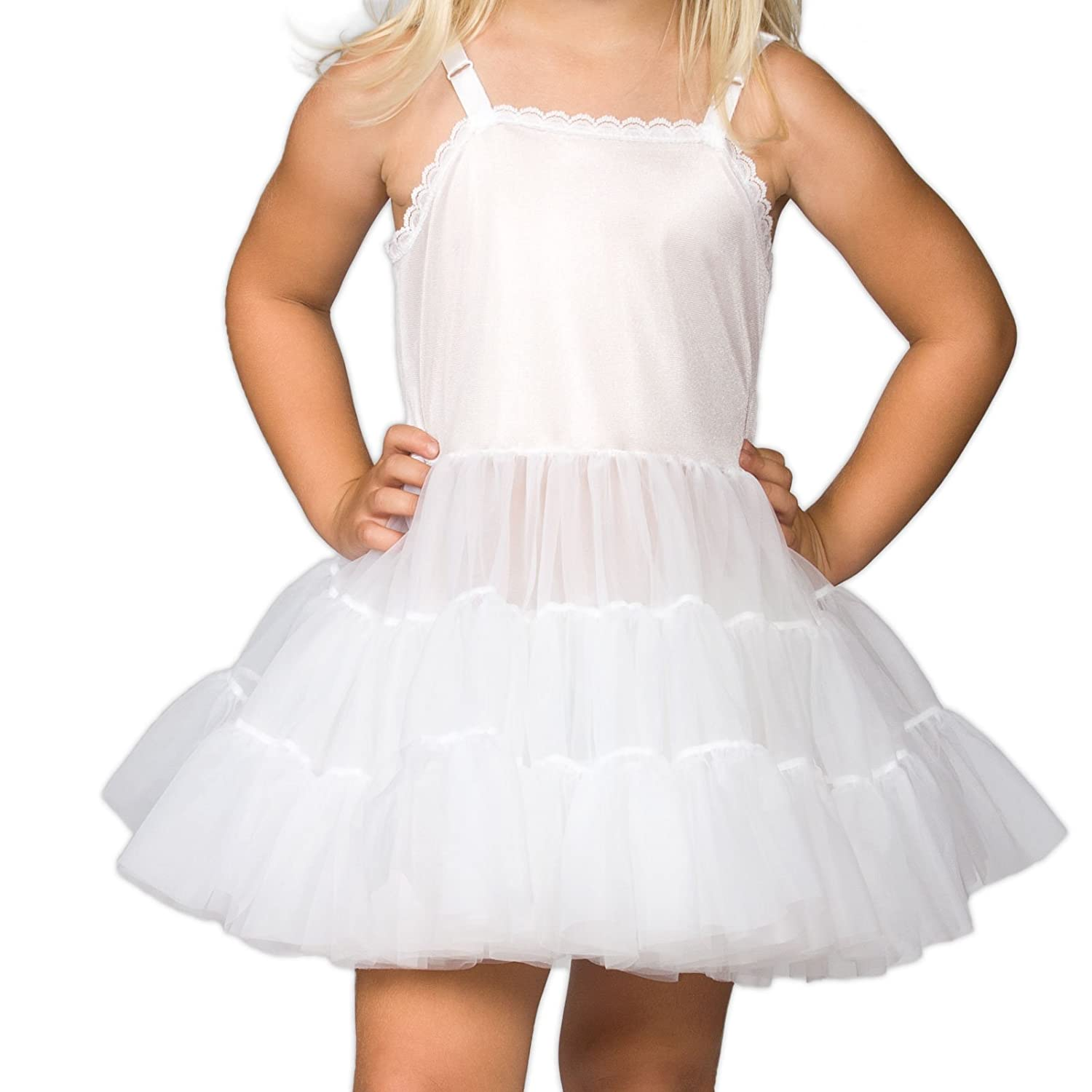 I.C. Collections Big Girls White Bouffant Slip Petticoat - Extra Full, 8 New ICM 000498-WHC