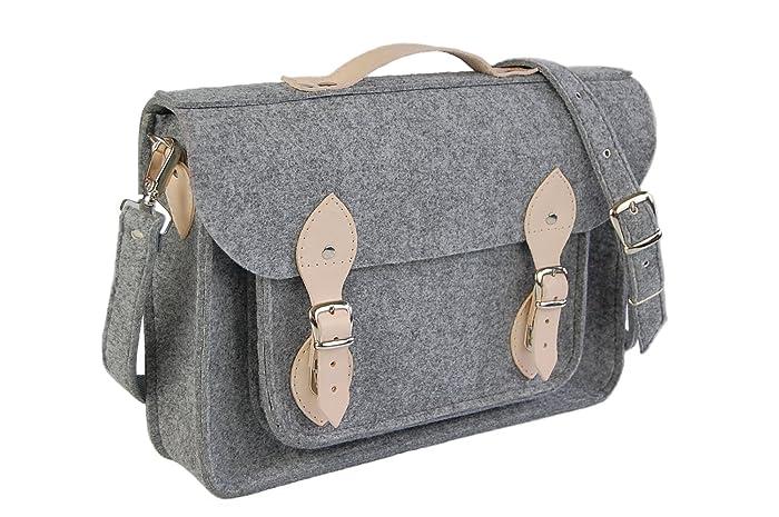 Amazon.com  Felt Laptop bag with leather c42e260f99d48