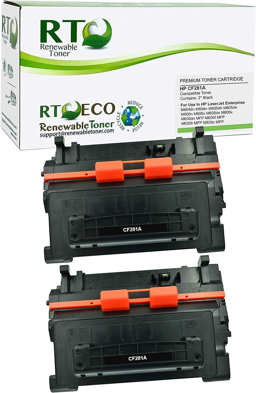 Renewable Toner Compatible Toner Cartridge Replacement for HP 81A CF281A Laserjet Enterprise M604 M605 M606 M630 MFP (Black, 2-Pack)