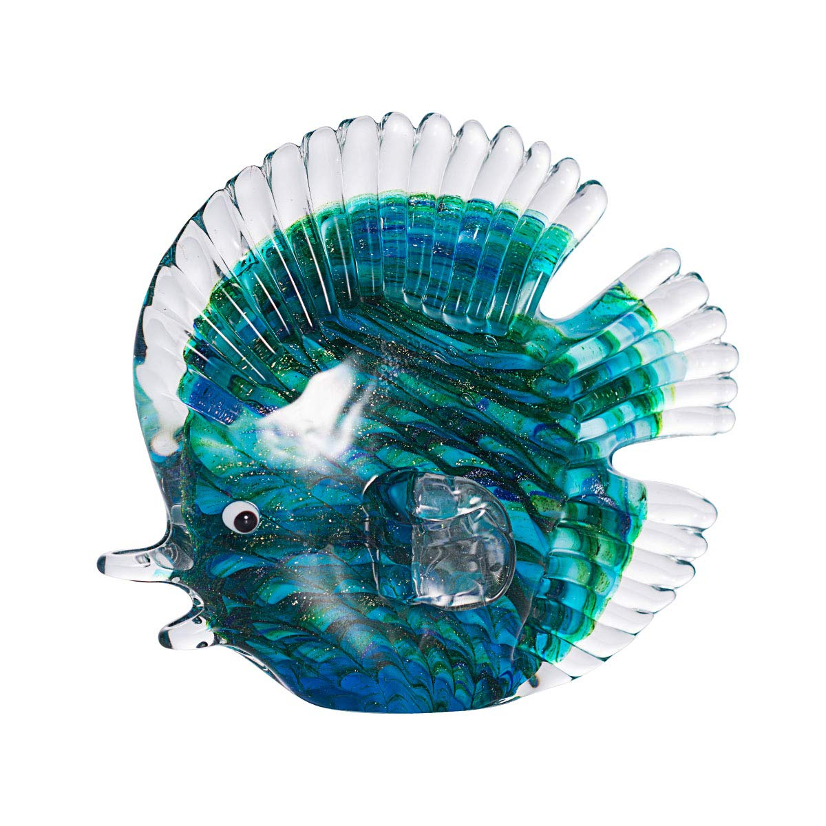 LONGWIN Handmade Glass Stripe Tropical Fish Sculpture Glass Hand Blown Sea Animal Figurine Home Tabletop Decoration Ornaments