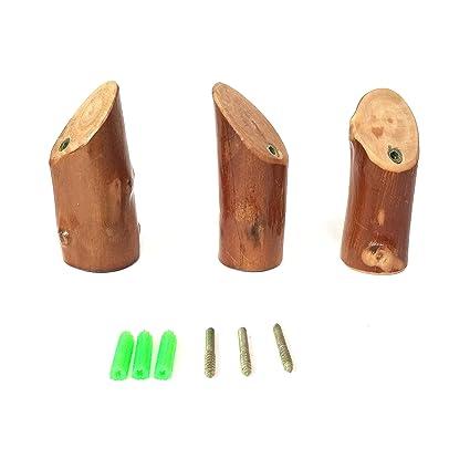 DeMissir Ganchos de madera de aguacate natural, juego de 3 ...
