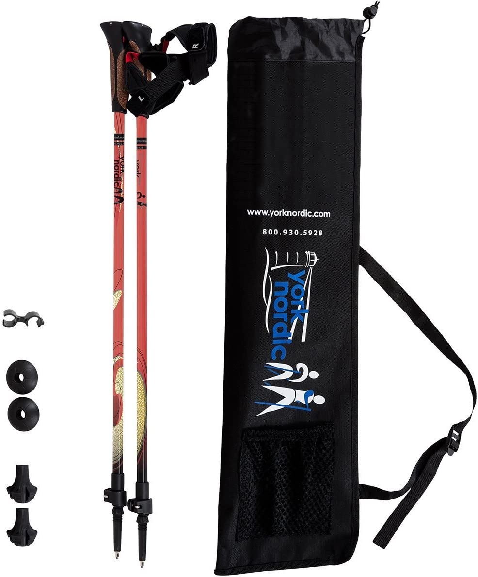 York Nordic Red Burner Design Hiking Walking Poles – Lightweight, Adjustable, and Collapsible – 2 Pack – Adjustable Pair w flip Locks, Detachable feet and Travel Bag