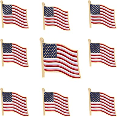 12-Pack USA Flag Lapel Pins Bulk US Flag Badge Pins for Men and Women Waving Flag American Flag Pins Soft Enamel