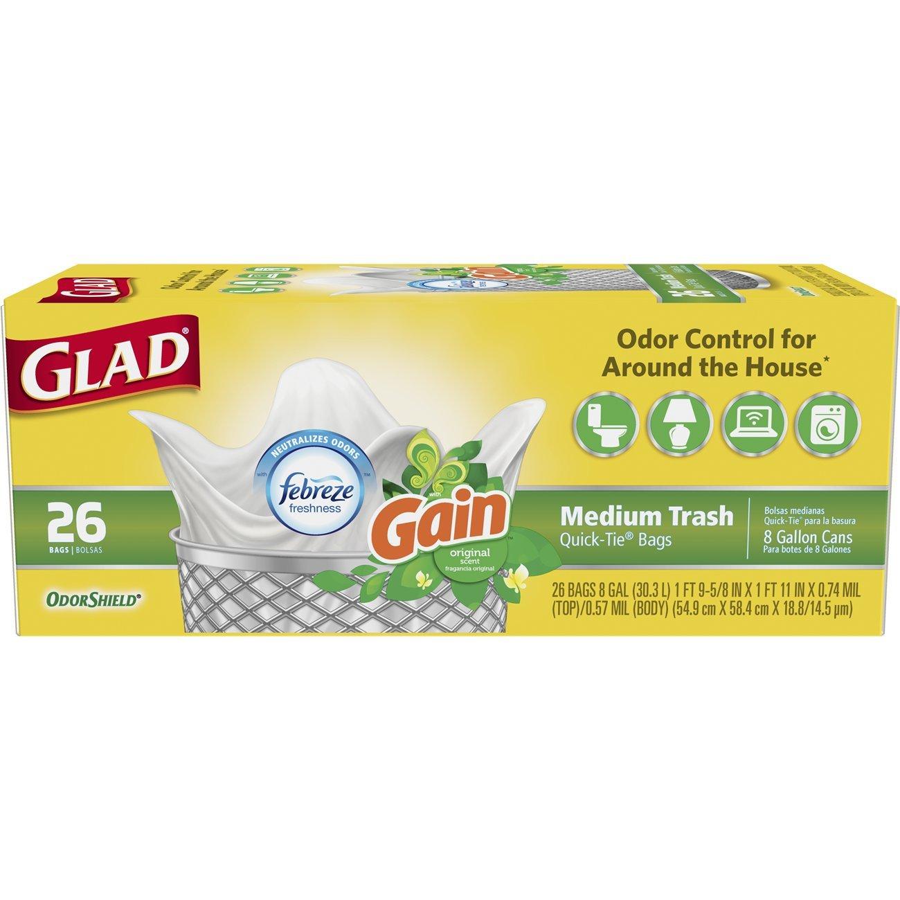 Glad OdorShield Quick-Tie Medium Trash Bags - Gain Original with Febreze Freshness,8 Gallon, 26 Count (Pack of 6)