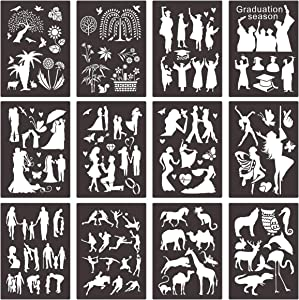 Cieovo 12pcs Plastic Stencils Set Craft Educational Toys for Journal Painting Craft Journal Notebook Diary Drawing Scrapbook Journal Stencils Templates