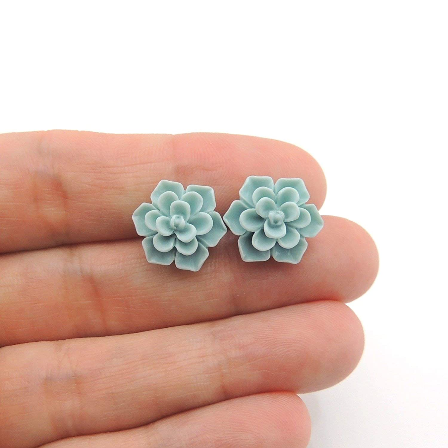Succulent Earrings on Plastic Posts for Metal Sensitive Ears, 13mm Matte Aqua Blue