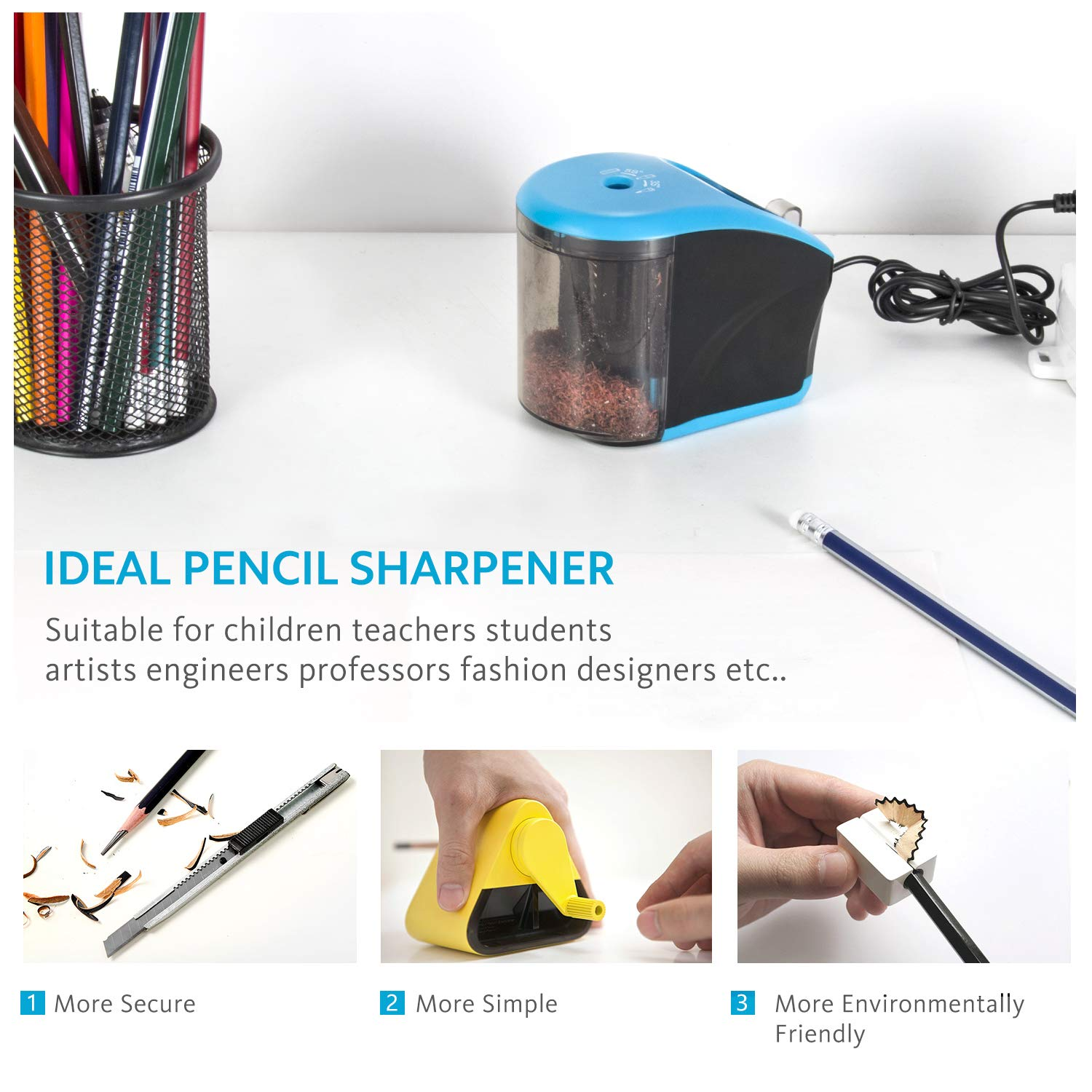USB//Battery Operated Heavy duty Helical Blade Electronic Sharpener for No.2//Colored Pencils INVOKER Electric Pencil Sharpener 6-8mm USB Cable Included School Office Supplies for Kids Artists