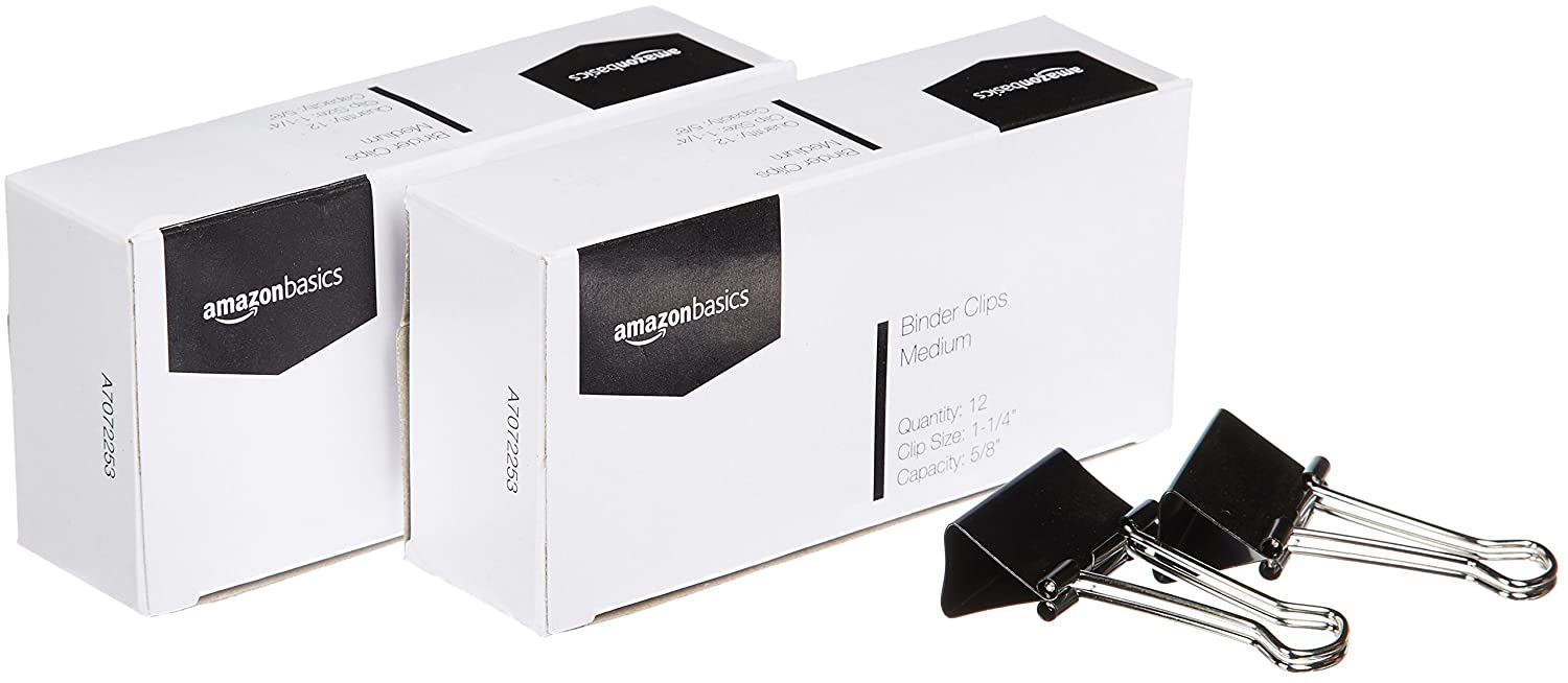AmazonBasics Binder Clips, Medium, 12 per Box, 2-Pack