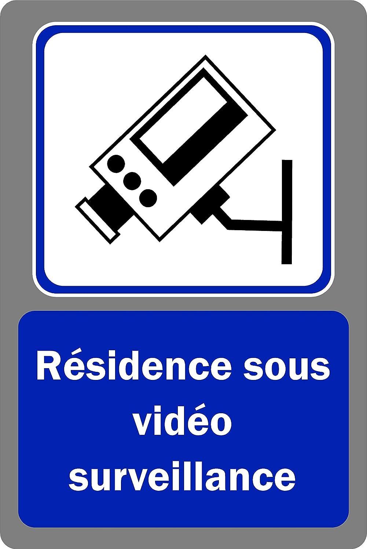 Panneau r/ésidence sous vid/éo Surveillance Pancarte vid/éosurveillance Autocollant 300mm x 200mm