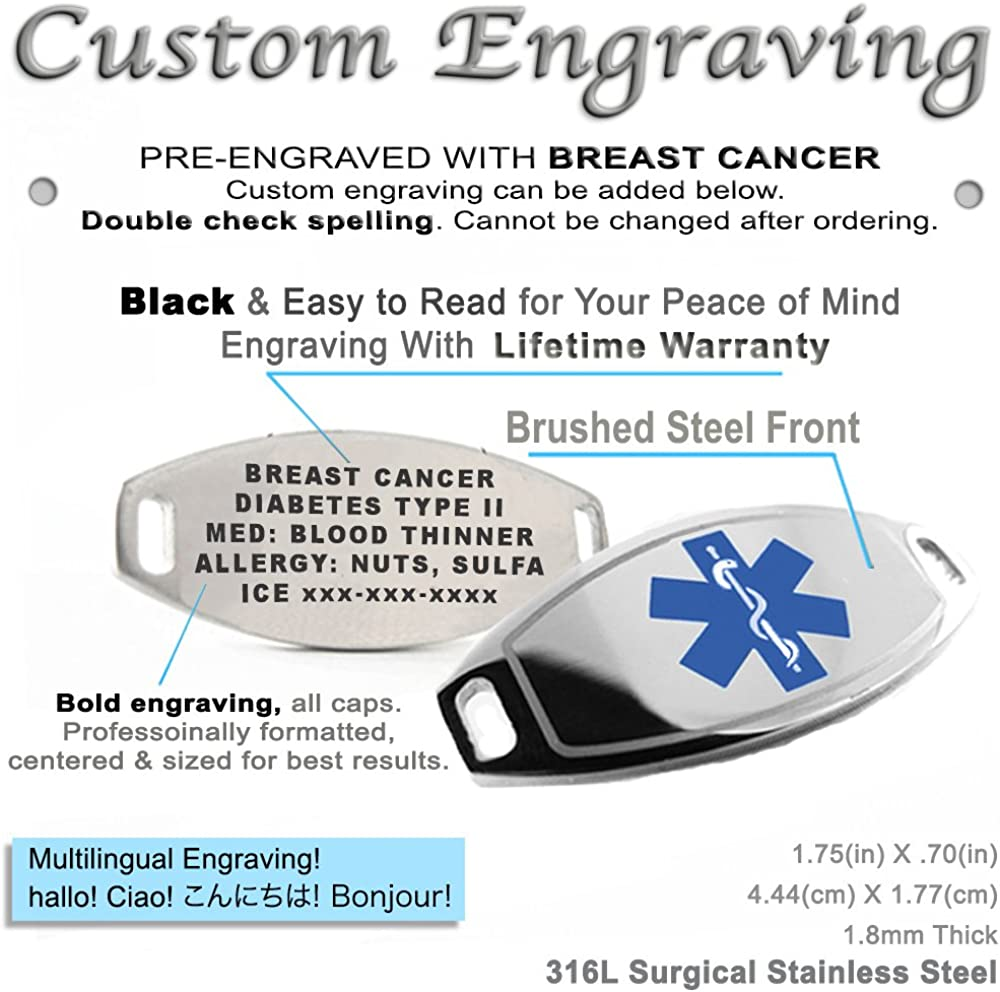 My Identity Doctor Pre-Engraved /& Customized Cancer Patient ID Bracelet Black//White Millefiori Glass Yellow