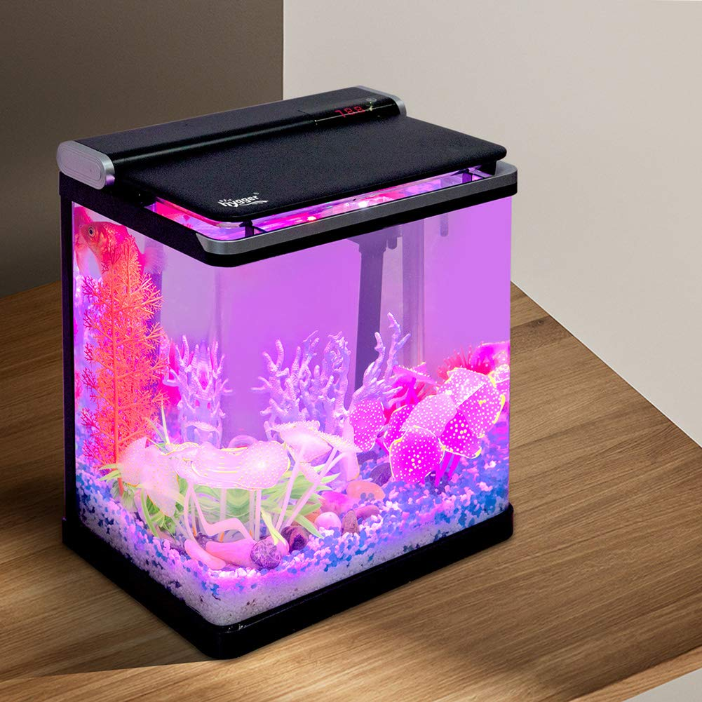 Hygger 4 Gallon Smart Touchscreen LED Temperature Display Nano Aquarium Kit with Flip Lid, 3-in-1 Water Pump, LED Light Hood and 2 Filter Cartridges, Small Fish Tank Starter Kit