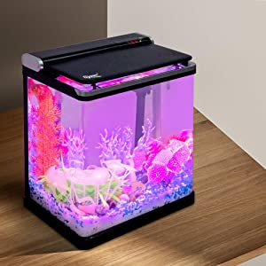 Hygger 4 Gallon Smart Touchscreen LED Temperature Display Nano Aquarium Kit with Flip Lid, 3-in-1 Water Pump, LED Light Hood and 2 Filter Cartridges, Small Fish Tank Starter Kit
