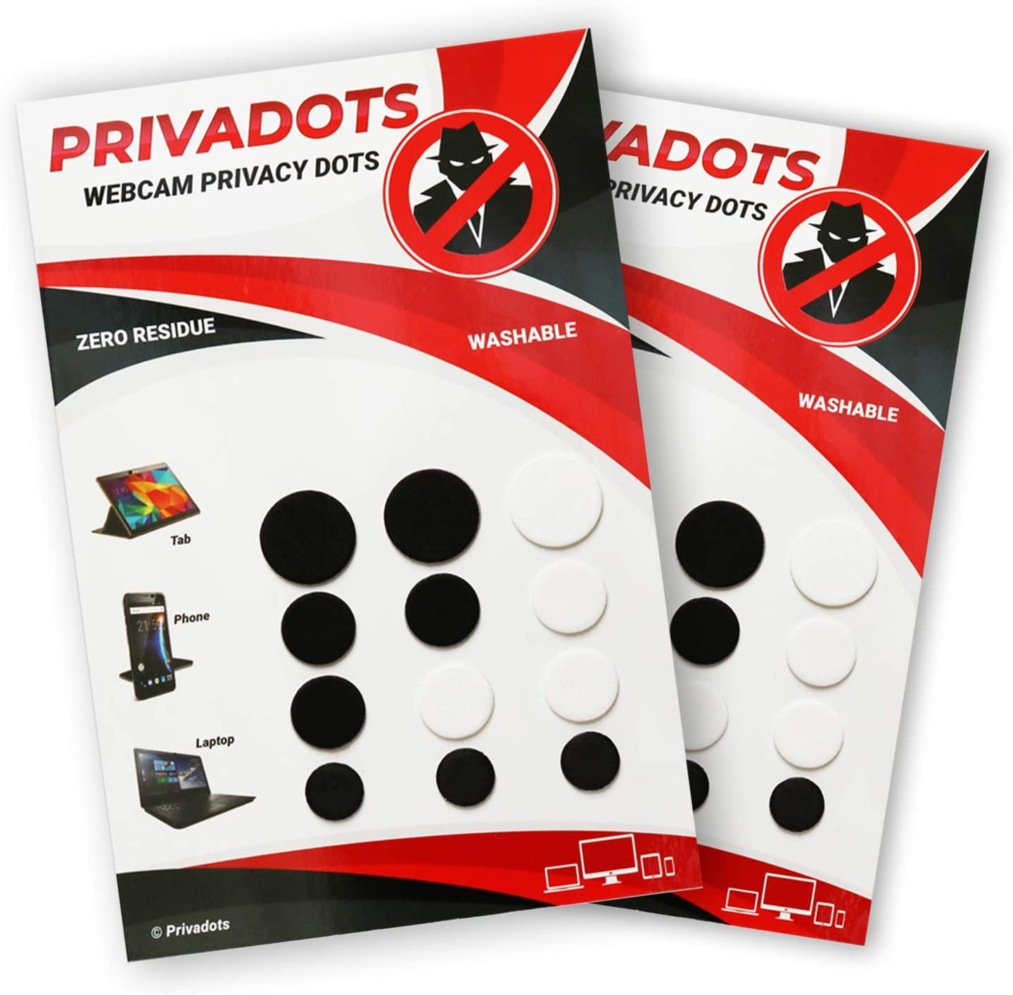 PRIVADOTS Webcam Covers Reusable 24 Pack (2 Sheets), Low-Tack, 3 Sizes for Laptops, Tablets, Phones (6White-18Black)