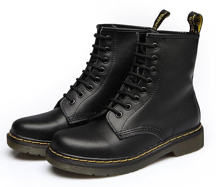 ukStore Damen Martin Stiefel Derby Wasserdicht Kurz Stiefeletten Winter Herren Worker Boots Profilsohle Schnürschuhe Schlupfstiefel,Warm Gefüttert/Weiß 42 EU