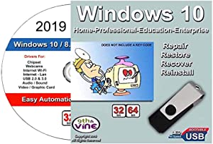 9th and Vine Compatible Windows 10 Home and Professional 32/64 Bit USB Flash Drive and 2019 Drivers. Install To Factory Fresh, Recover, Repair and Restore Boot Disc. Fix PC, Laptop and Desktop.