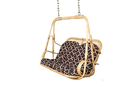 Riyo Moda Enterprises Outdoor 2 Seater White Cane Hanging Swing Set with Cotton Cushion and Mild Steel Chains