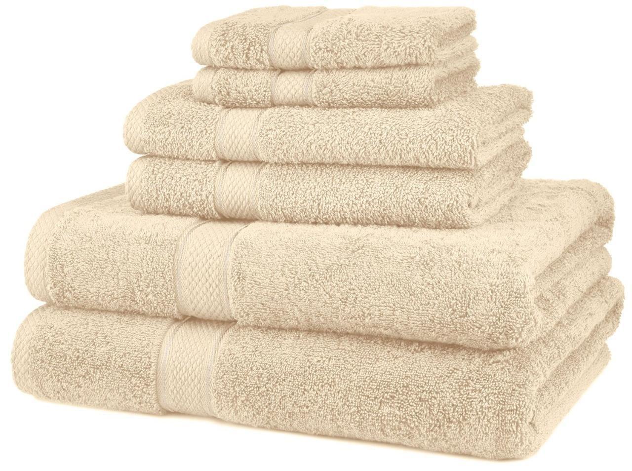 Nuevo 6 piezas 100% algodón egipcio 725 G juego de toallas (toalla de baño, crema): Amazon.es: Hogar