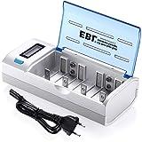 EBL 906 Universal Cargador de Pila para AA AAA C D 9V NI-MH NI-CD Batería Recargable con Pantalla LCD y Funciones de Descarga
